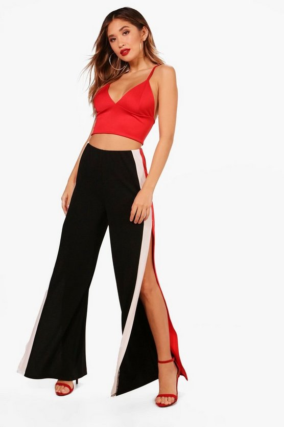 Crepe Extreme Split Stripe Wide Trouser