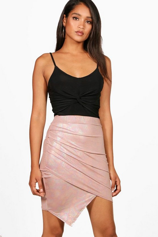 Womens Blush Metallic Rouched Wrap Midi Skirt