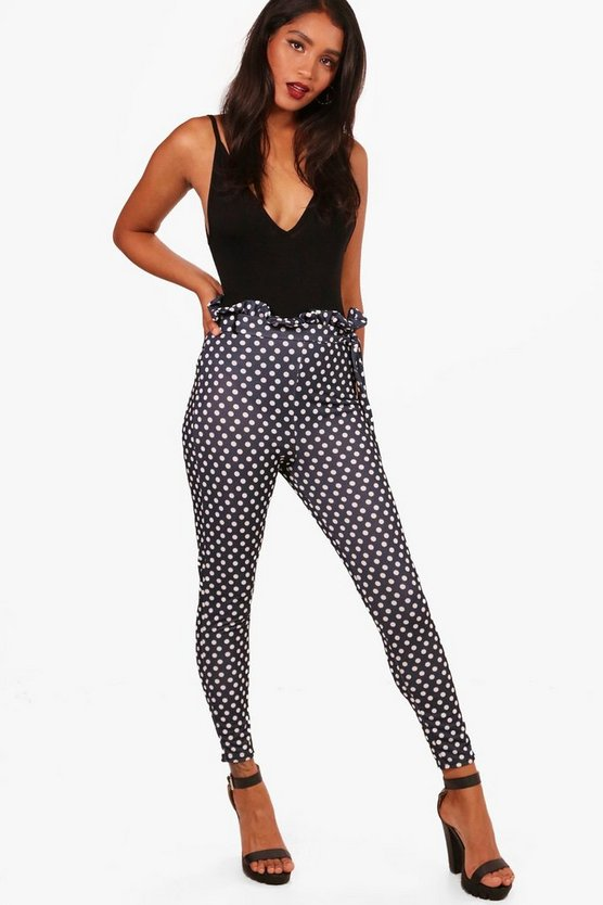 Polka Dot Paperbag Tie Waist Trousers