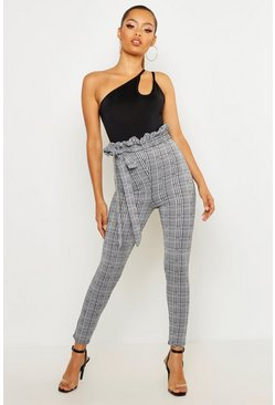 Womens Charcoal Check Paperbag Tie Waist Pants