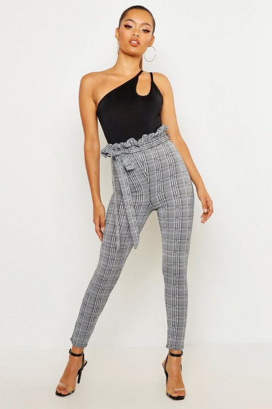 Womens Charcoal Check Paperbag Tie Waist Trousers
