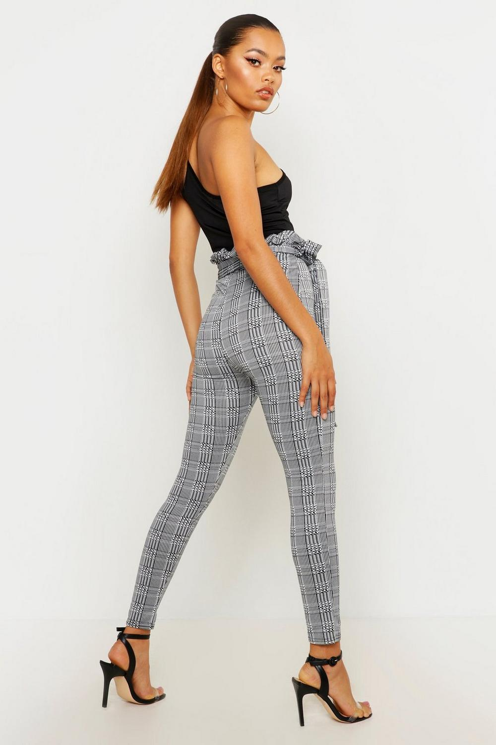 Check charcoal Waist Tie Paperbag Trousers wznrF8zSxq