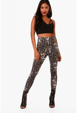 Womens Grey Leopard Print Leggings