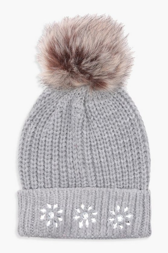 Flo Jewel Embellished Faux Fur Pom Beanie, Grey, DAMEN