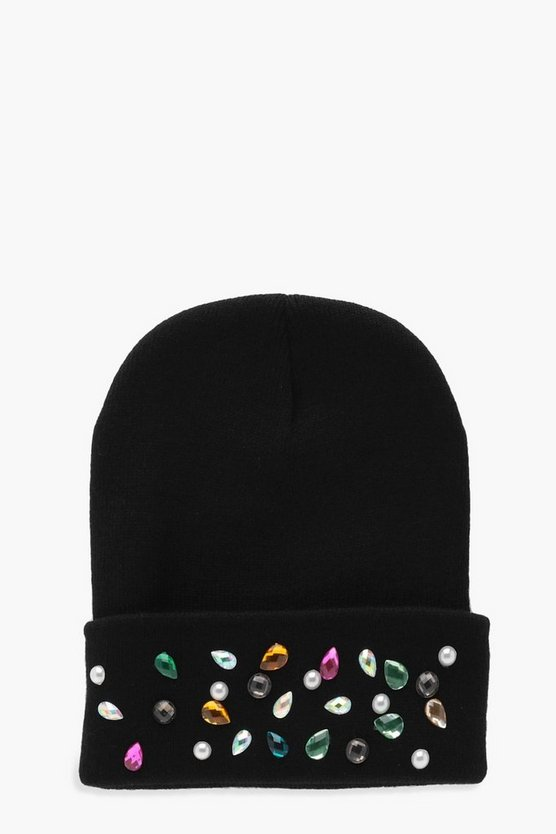 Meg Mixed Gem Embellished Boyfriend Beanie