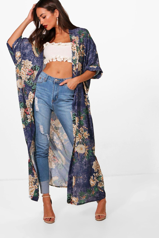 Floral Kimono Oriental blue Print Maxi xYTxUdwqt