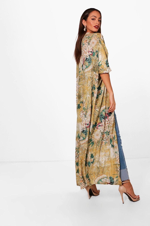 Oriental Floral Maxi Kimono blue Print xxSw4B