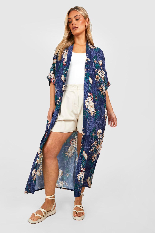 Maxi blue Kimono Floral Print Oriental Ix1qzwE