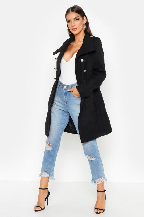 Womens Black Military Wool Look Coat