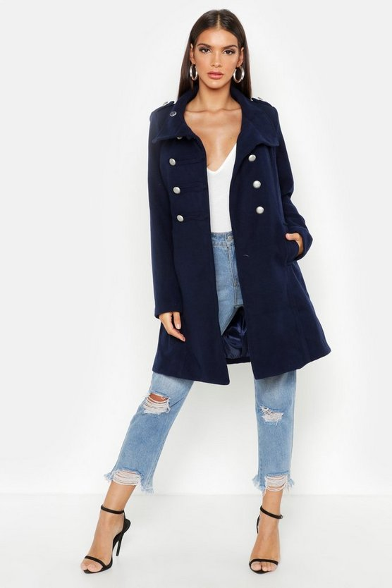 Womens Navy Military Wool Look Coat
