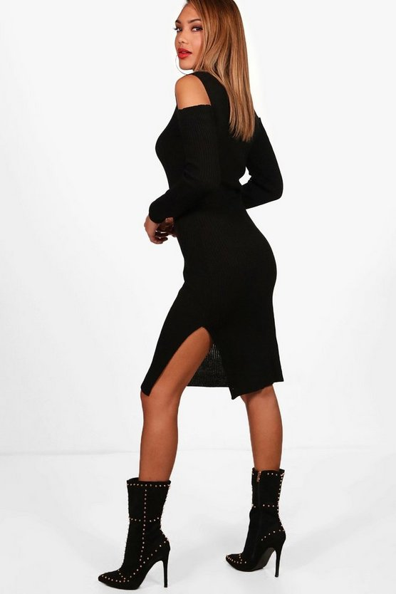 Amy Rib Knit Cold Shoulder Roll Neck Jumper Dress