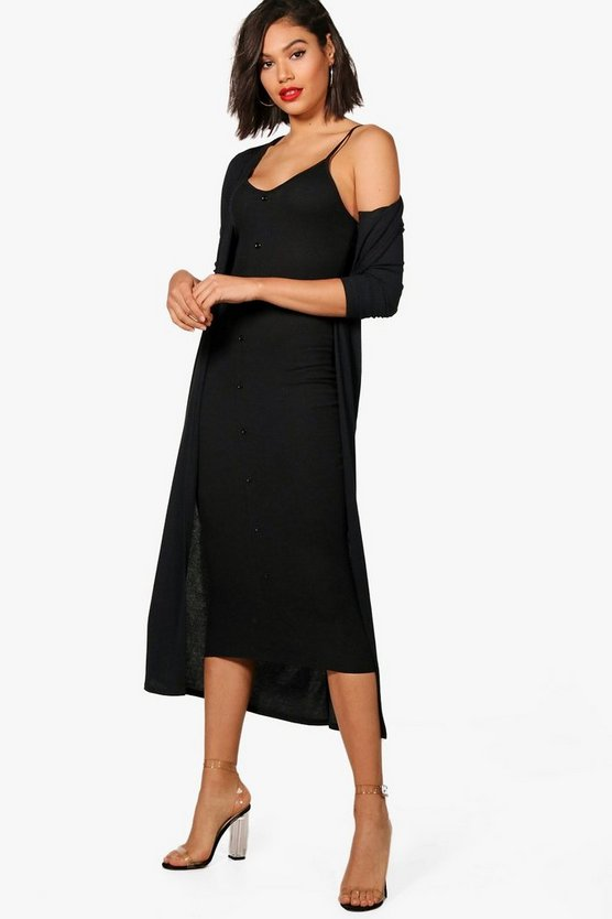 Womens Black Emma Knitted Midaxi Dress And Cardigan Set