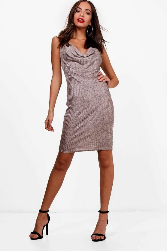 Drape Front Metallic Knit Dress