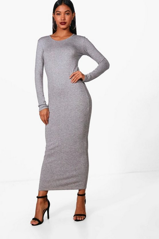 Womens Grey Poppy Midaxi Soft Knit Jumper Dress