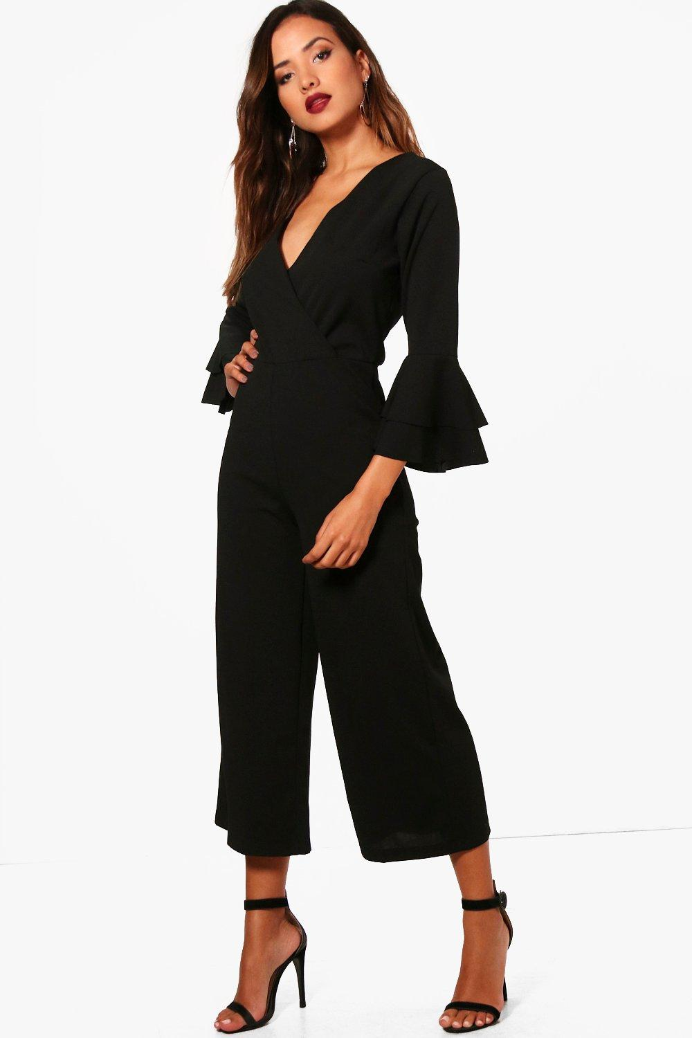 Tailored Frill Jumpsuit Belted Sleeve black 0qzZaqw