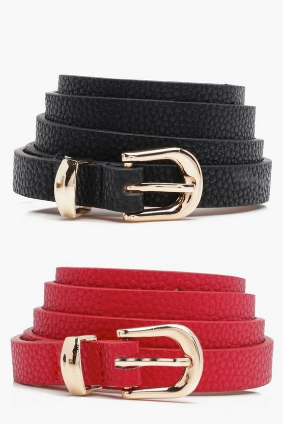 Red Skinny Belts 2 Pack