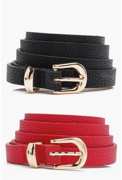 Womens Red Skinny Belts 2 Pack