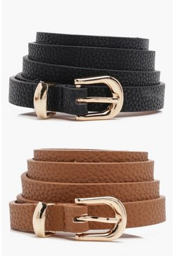 Womens Tan Skinny Belts 2 Pack