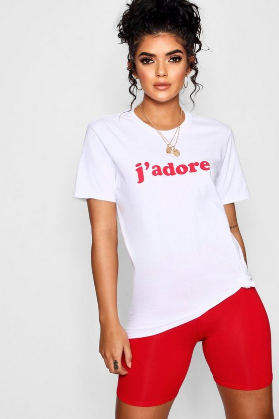 Womens White J'adore Slogan T-Shirt