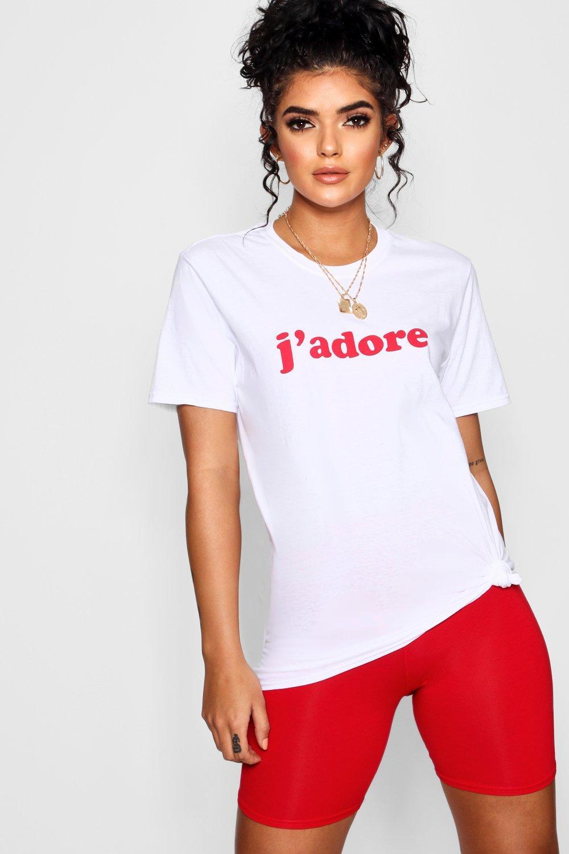 white J'adore T Slogan Shirt J'adore Slogan Y6WUapnW