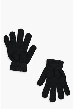Womens Black Thermal Magic Gloves