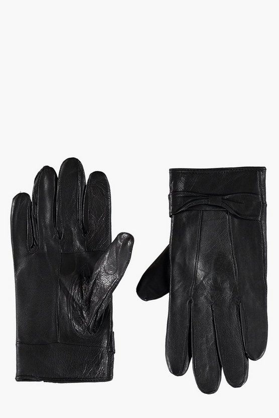 Lucy Real Leather Glove With Bow