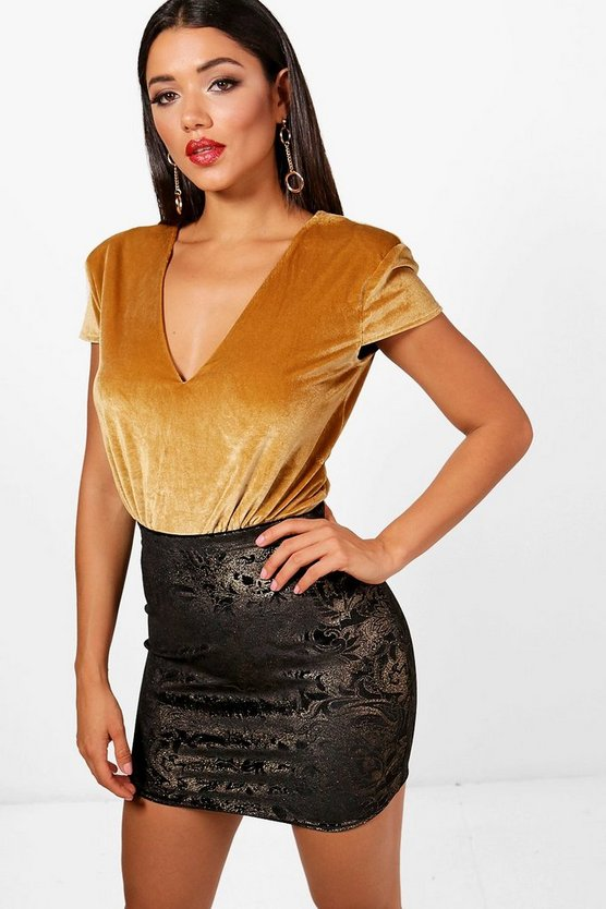 Metallic Print Velvet Mini Skirt