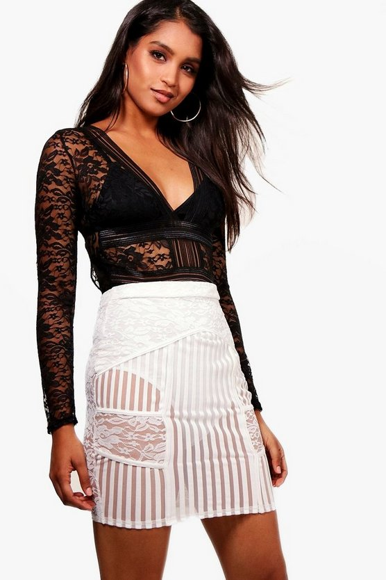 Stripe Mesh & Panelled Mini Skirt