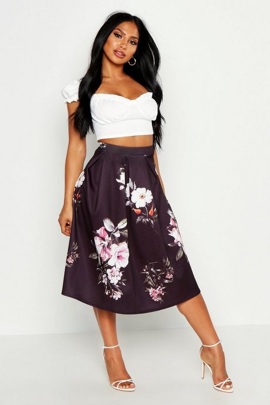 Black Dark Floral Box Pleat Midi Skirt
