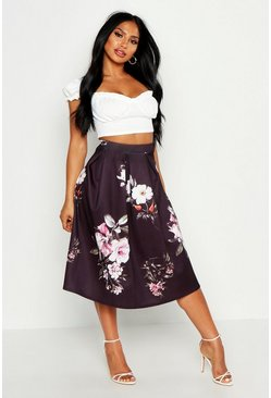 Womens Black Dark Floral Box Pleat Midi Skirt