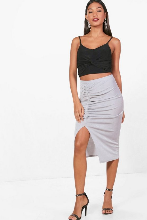 Rouched Split Front Slinky Midi Skirt