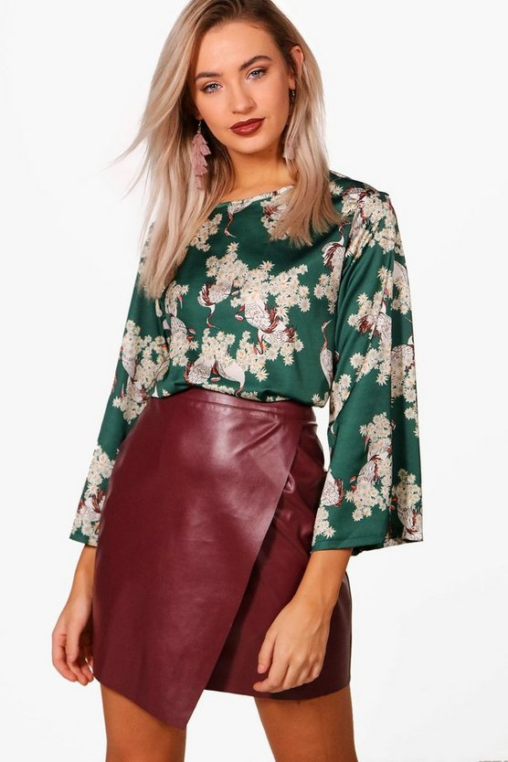 Bird Oriental Print Wide Sleeve Top