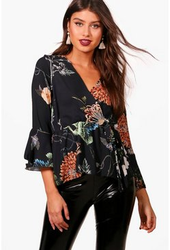 Womens Black Wrap Over Tie Printed Blouse