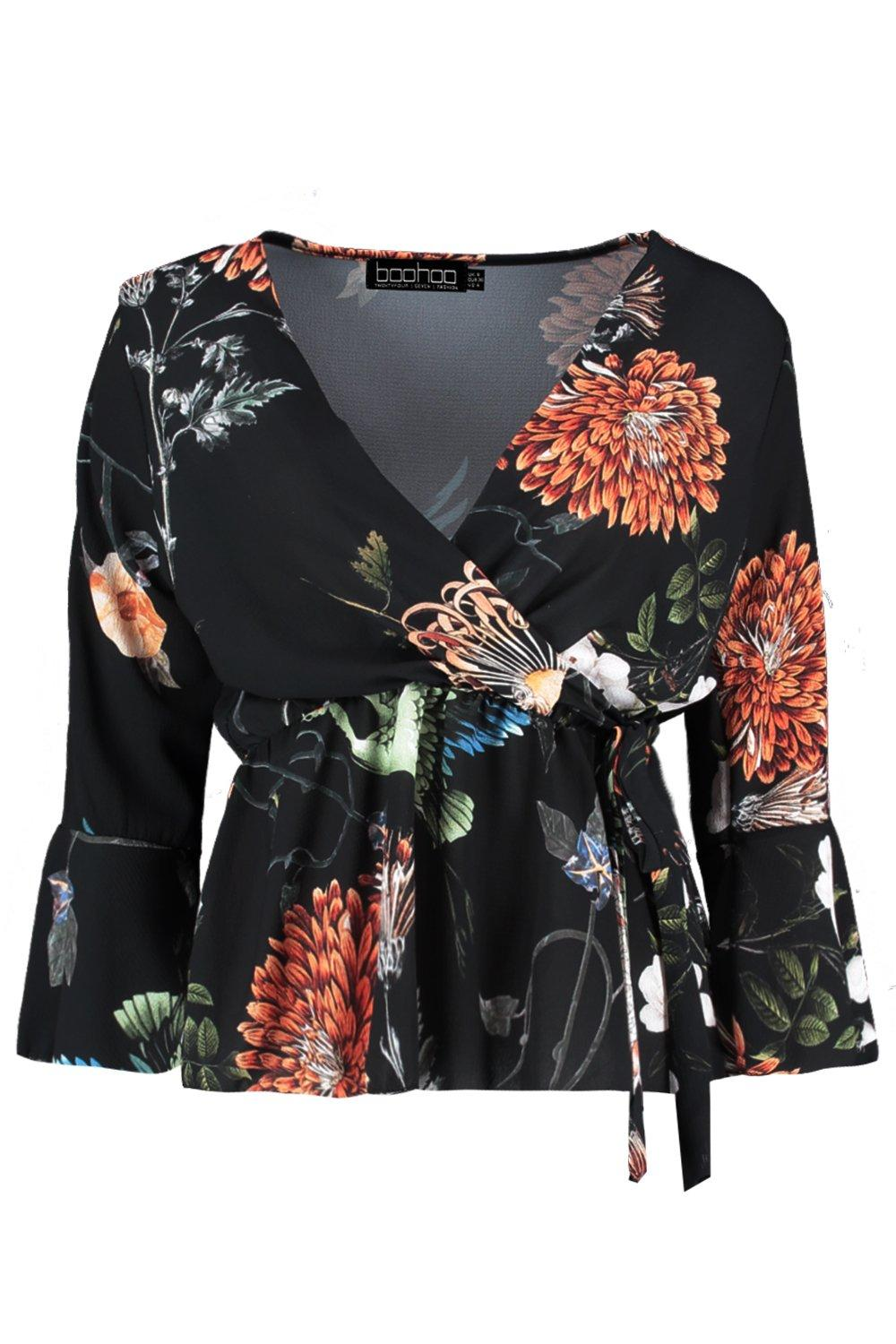Blouse Wrap Printed Over Tie black CCqtf