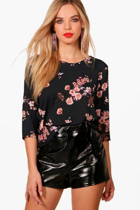 Womens Black Floral Print Blouse