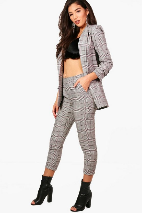 Womens Black Amy Check Trouser