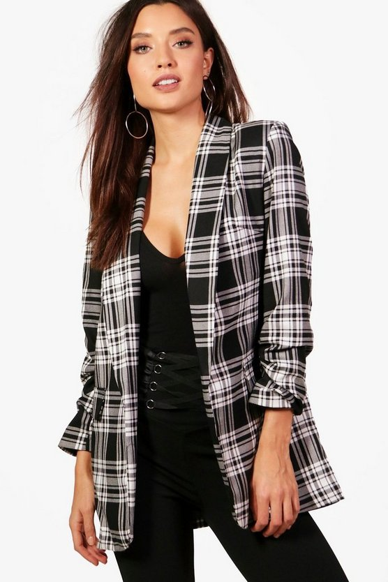Womens Black Chaise Check Blazer