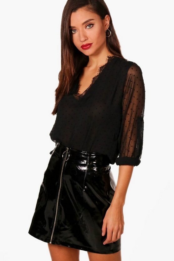 Womens Black Spot Lace Neck Blouse