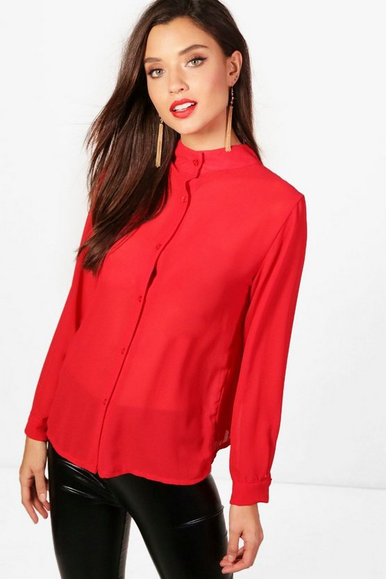 Crinkle High Neck Blouse