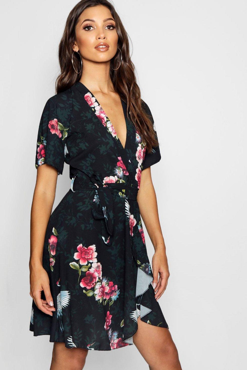 0c0082761ee7 Oriental Bird Print Ruffle Tea Dress | Boohoo