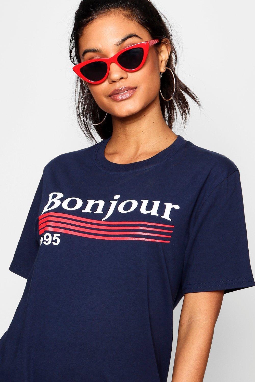 Bonjour white 1995 T Oversized Shirt Slogan rZrOqnH