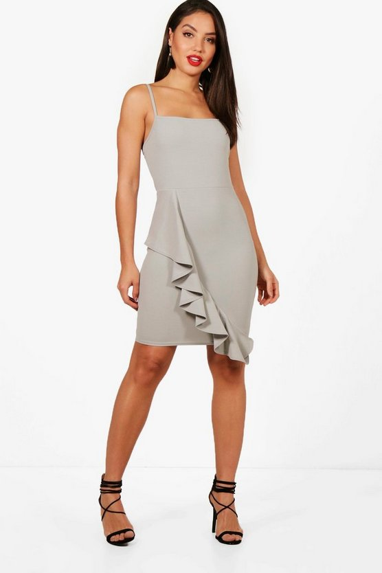 Square Neck Ruffle Hem Bodycon Dress