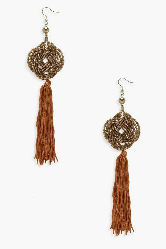 Ella Knot Detail Metal Tassel Earrings