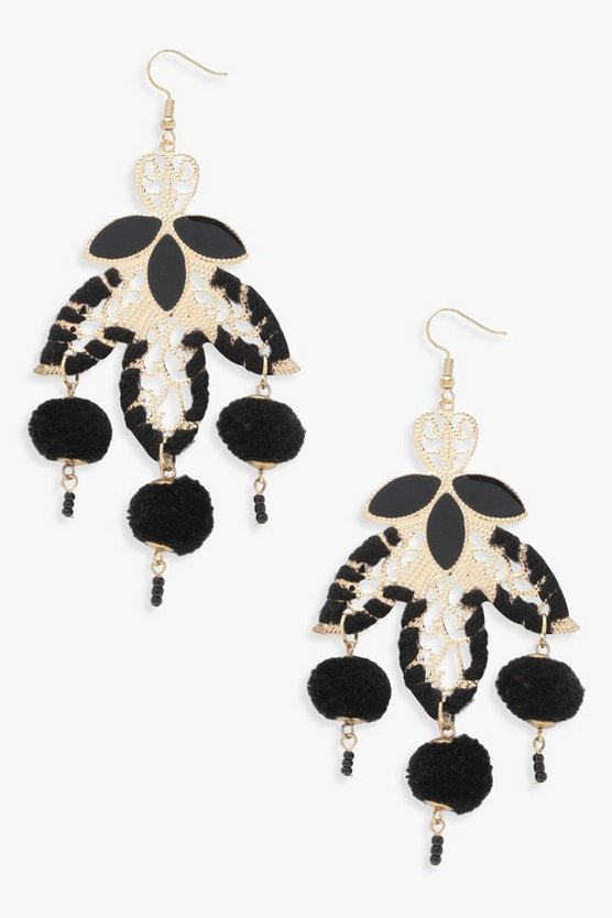 Womens Black Julie Statement Pom Leaf Earrings