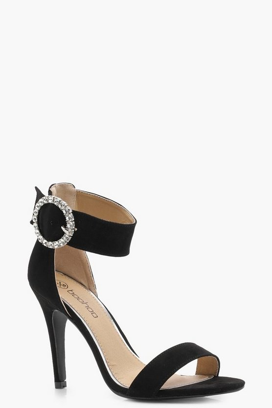 Wide Fit Diamante Buckle 2 Part Heels