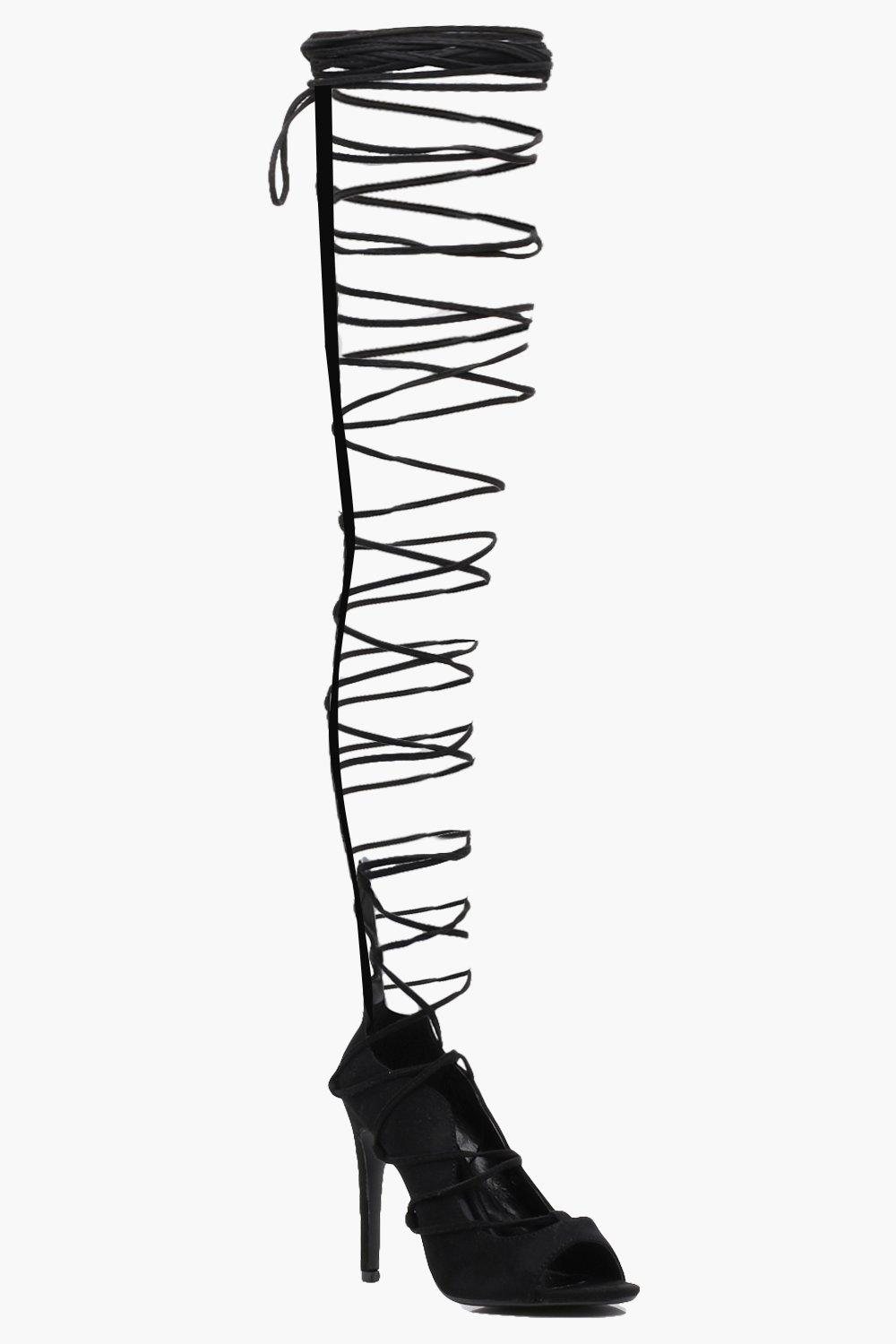 amazing price buying cheap presenting Harriet Lace Up Thigh High Gladiator Heels | boohoo