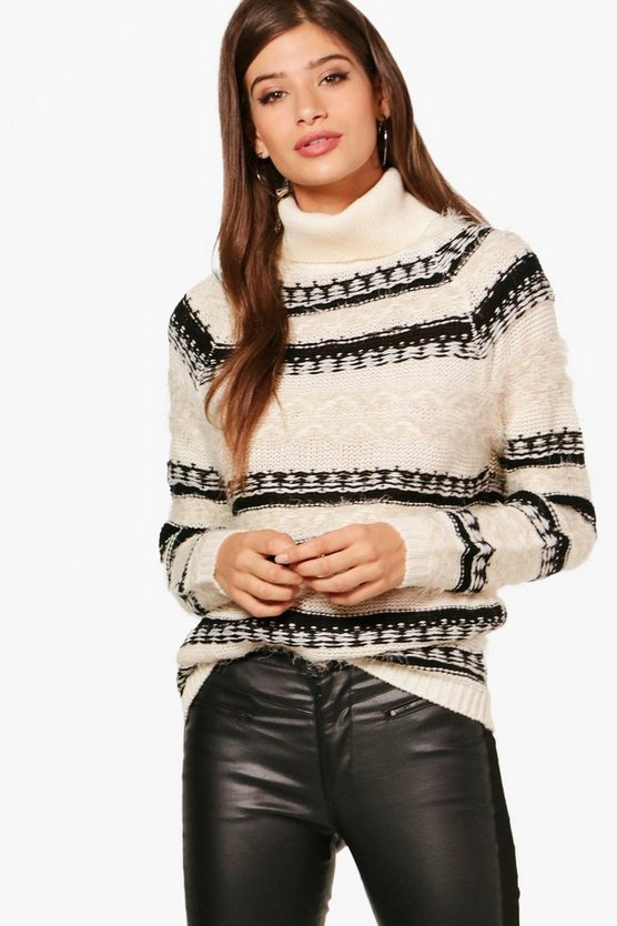 Fluffy Intarsia Roll Neck Jumper
