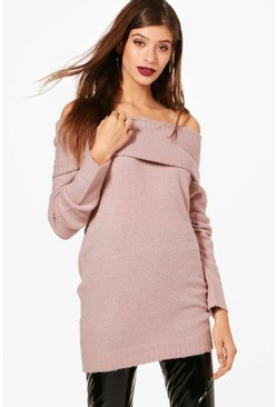 Womens Blush Soft Knit Bardot Tunic