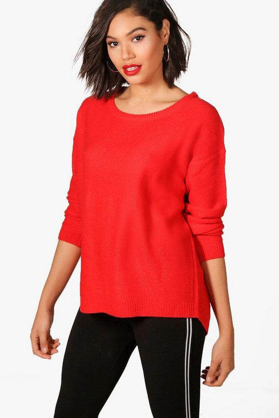 Zip Back Dip Hem Jumper