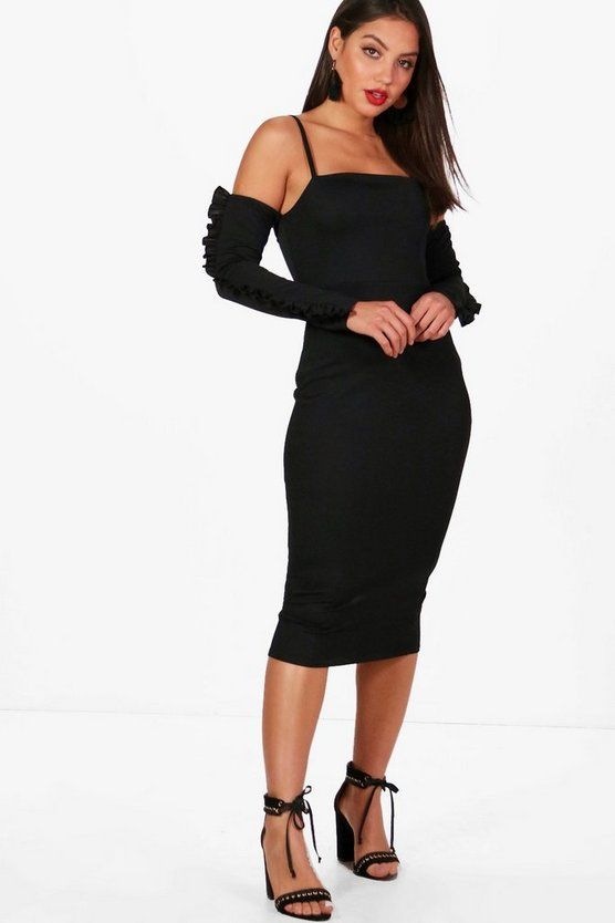 Cold Shoulder Frill Midi Dress